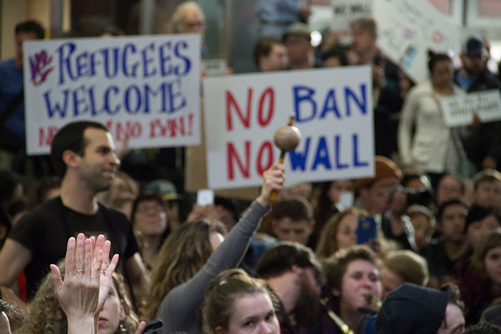 Airport protest against muslim ban and wall
