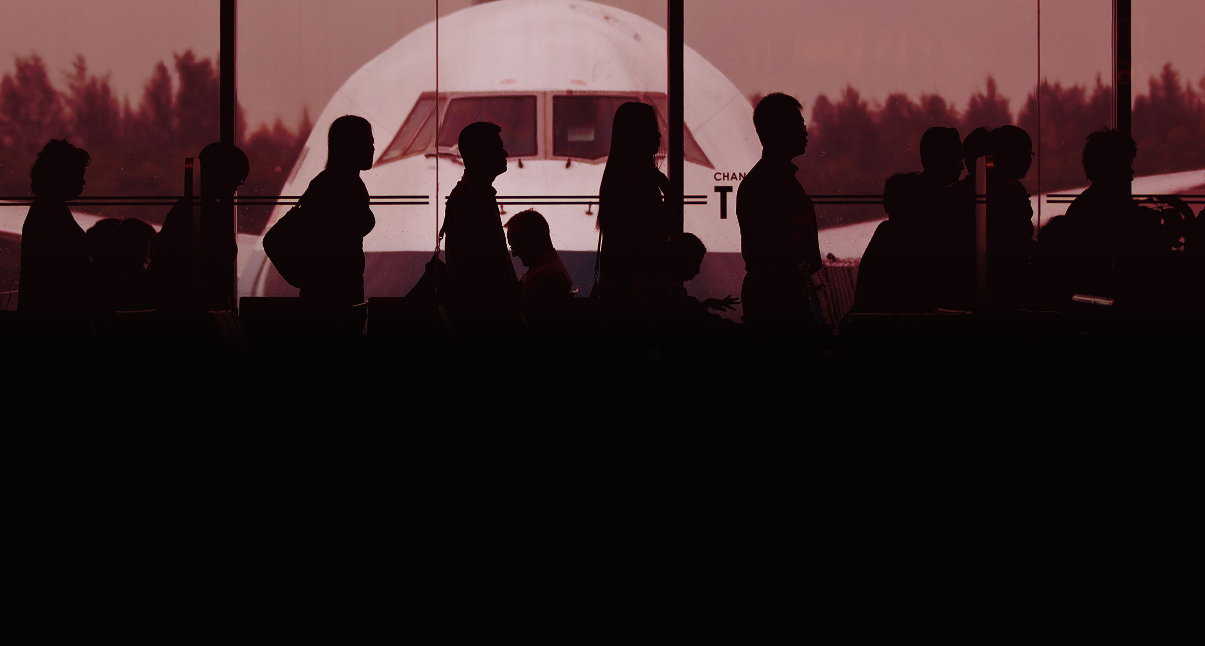 Silhouettes of a line of passengers waiting to board a plane